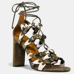 NWOB Coach Olive Green Lace Up Coach Link Heels